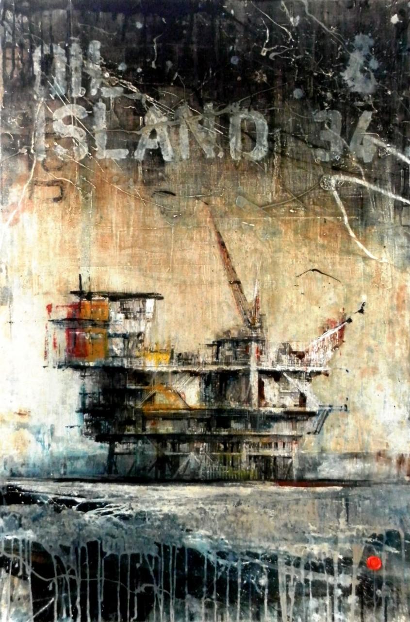 After Oil - collage photo, huile, acrylique sur bois - 120 x 80 cm - 2014