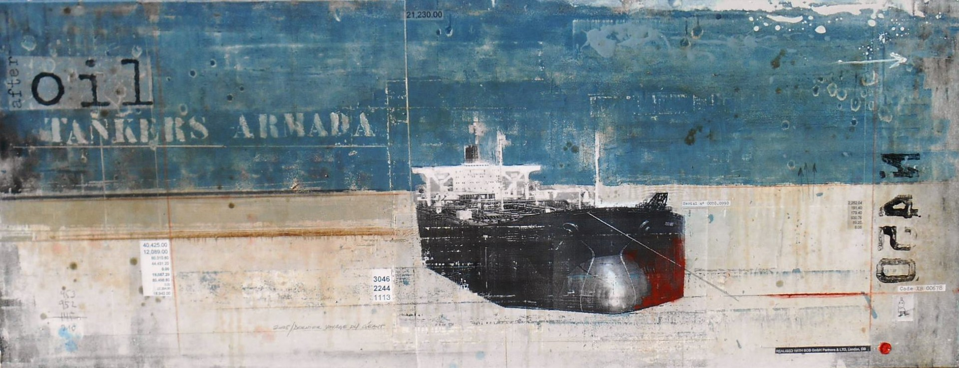 After Oil - Tankers Armada - collage photo, huile, acrylique sur toile - 70 x 180 cm - 2014