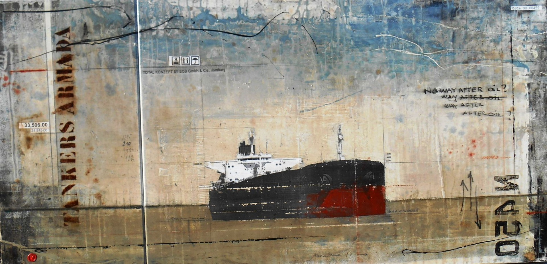 After Oil - Tankers Armada - collage photo, huile, acrylique sur toile - 80 x 130 cm - 2014