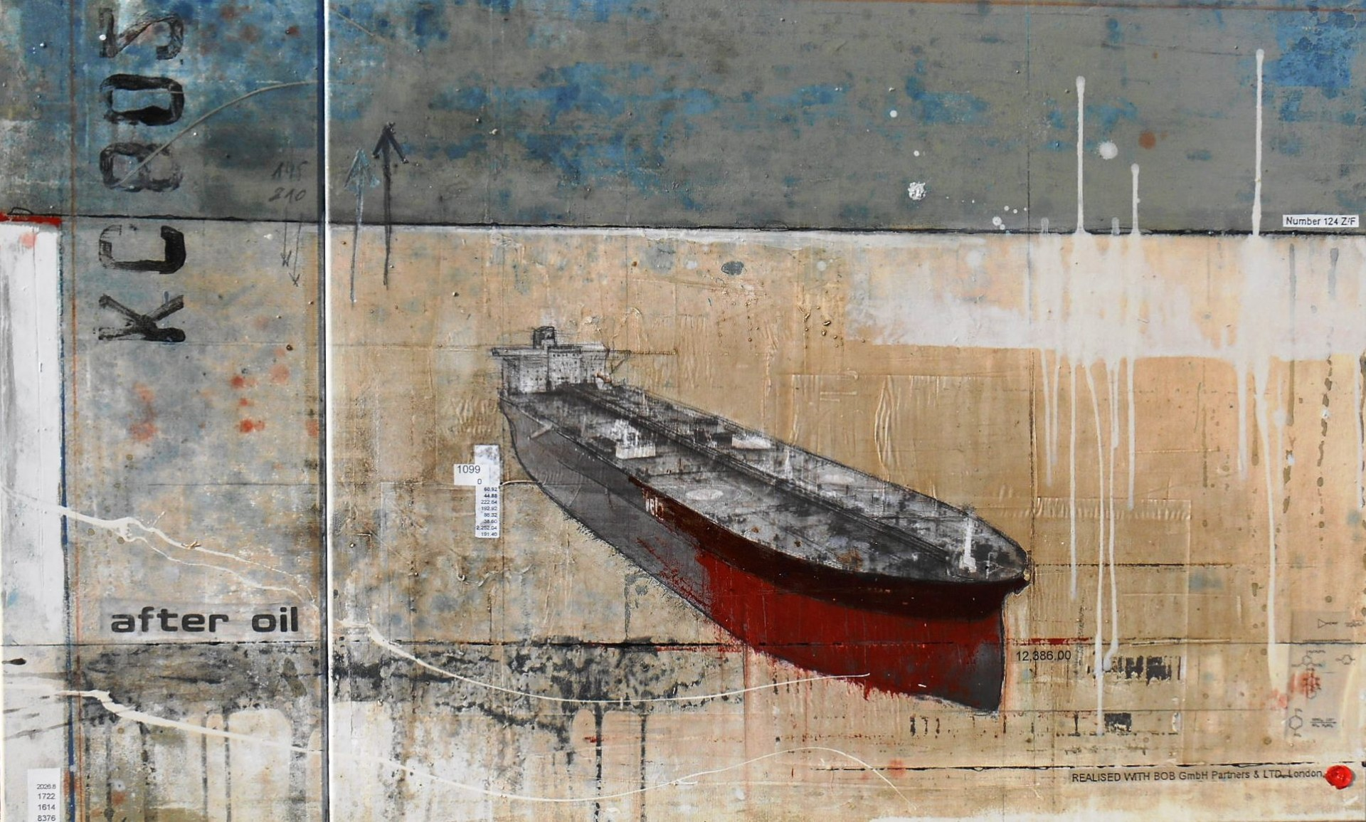 After Oil - Tankers Armada - collage photo, huile, acrylique sur toile - 80 x 160 cm - 2014