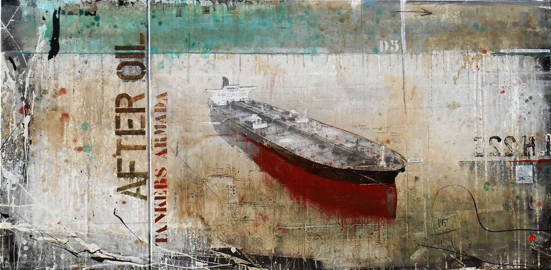 After Oil - Tankers Armada - collage photo, huile, acrylique sur toile - 100 x 200 cm - 2014