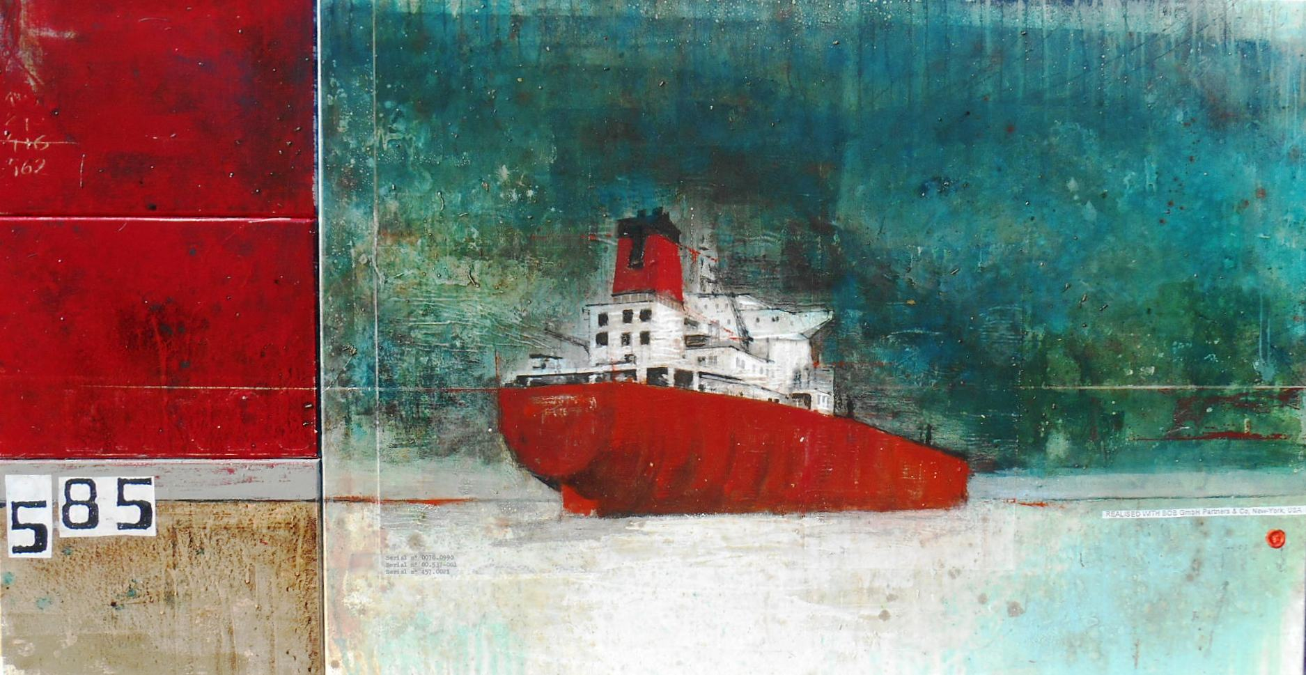 After Oil - Tankers Armada - collage photo, huile, acrylique sur toile - 90 x 170 cm - 2014