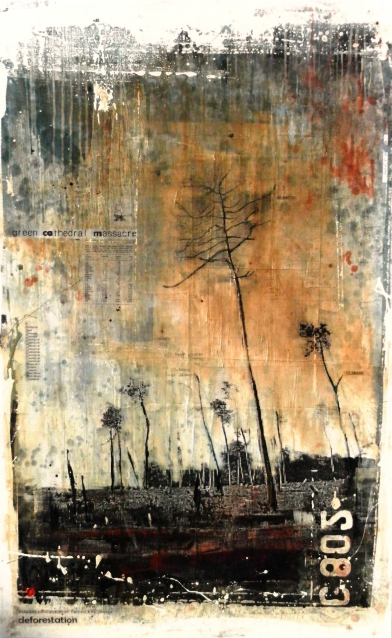 Rainforest Destruction - collage photo, huile, acrylique sur toile 160 x 100 cm - 2014