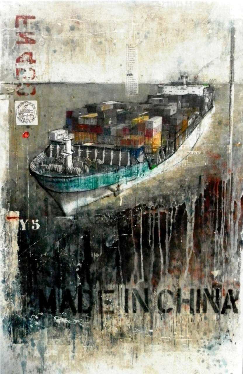 Made in China - collage photo, huile, acrylique sur toile 150 x 100 cm - 2014