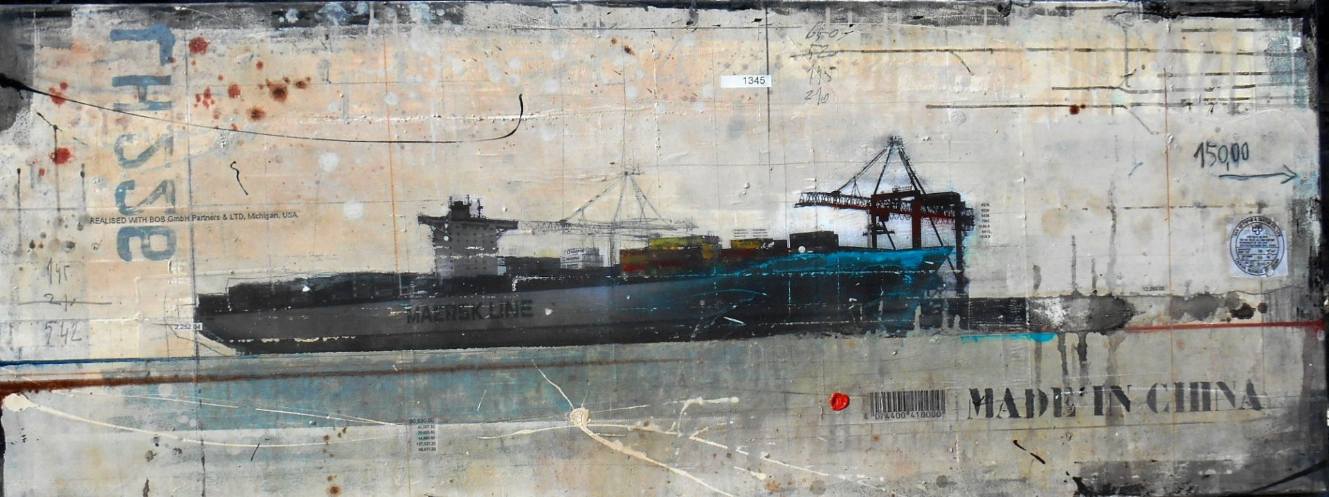 Made in China - collage photo, huile, acrylique sur toile 70 x 180 cm - 2014