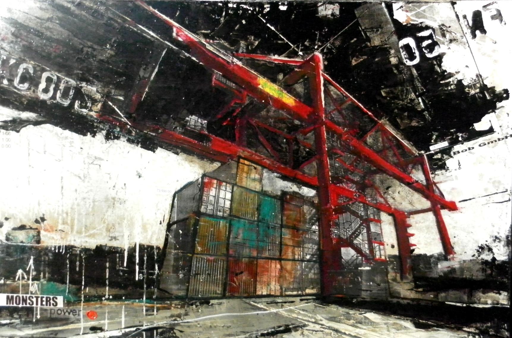 Monsters - collage photo, huile, acrylique sur toile - 100 x 150 cm - 2014