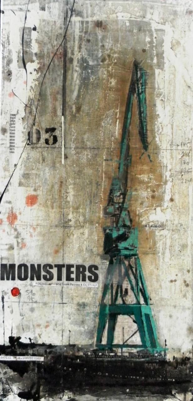 Monsters - collage photo, huile, acrylique sur toile - 100 x 50 cm - 2014