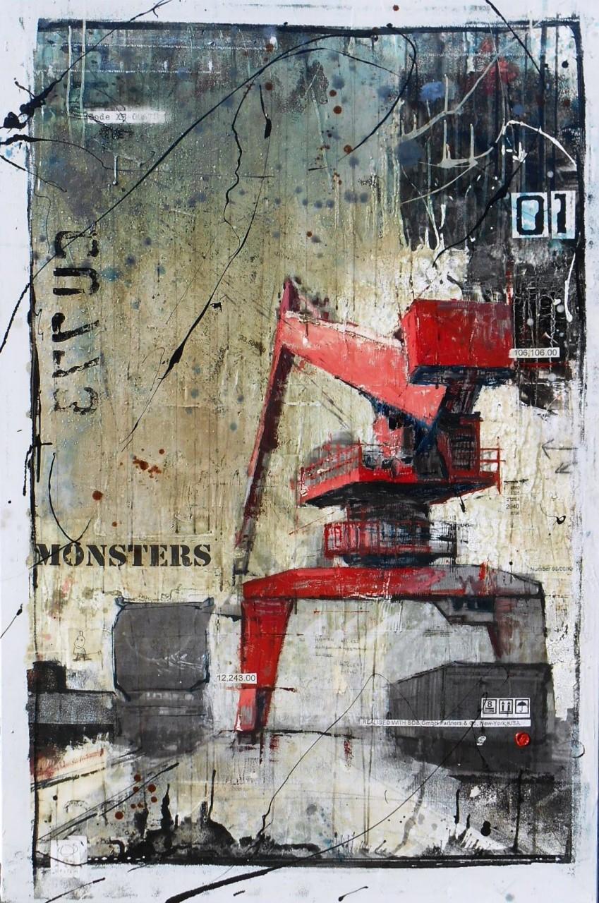 Monsters - collage photo, huile, acrylique sur toile - 150 x 100 cm - 2014