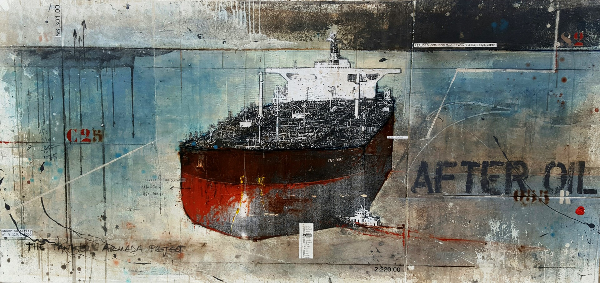 After Oil - Tankers Armada - collage photo, huile, acrylique sur toile - 90 x 190 cm - 2015