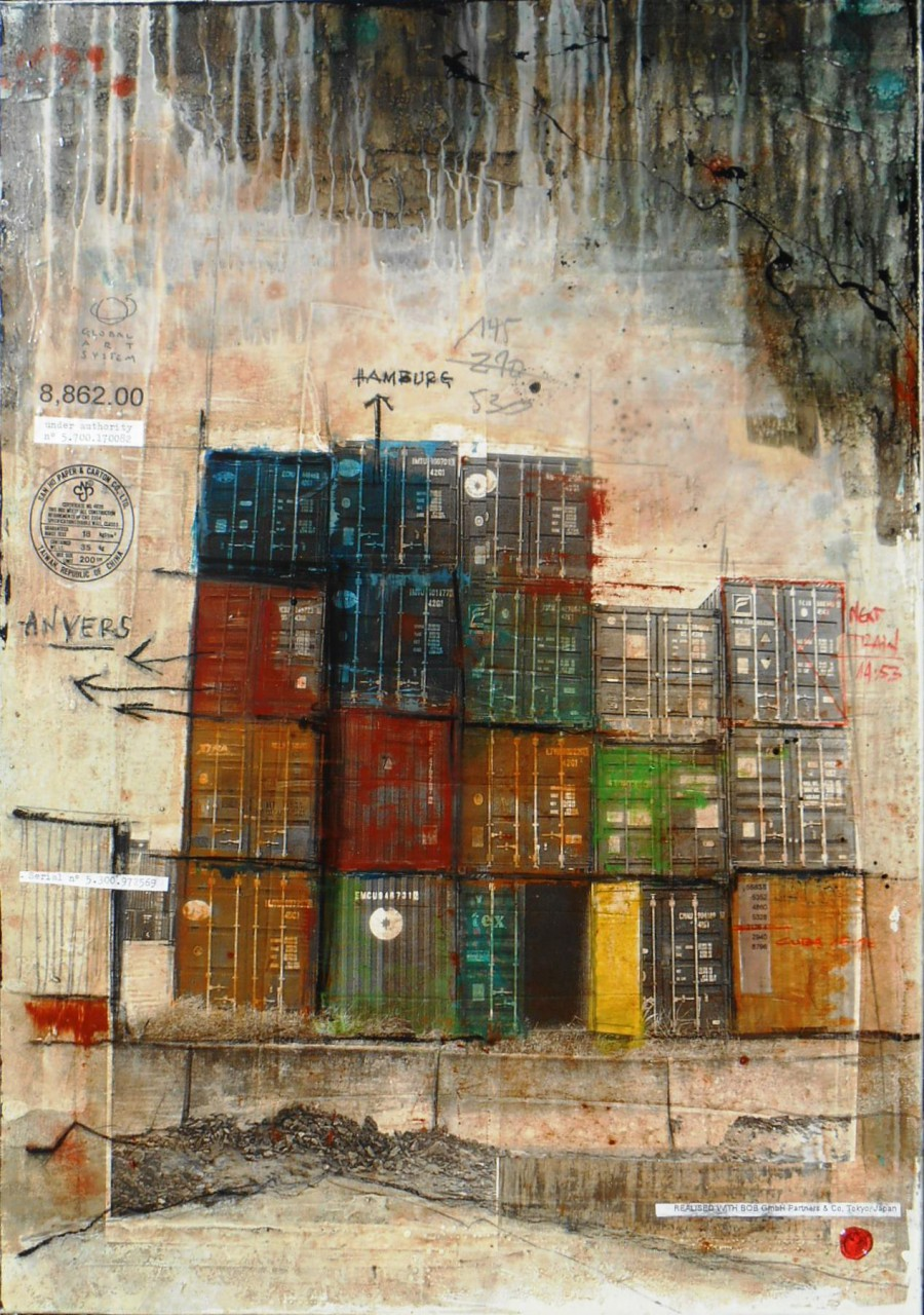Made in China - collage photo, huile, acrylique sur toile 90 x 80 cm - 2014