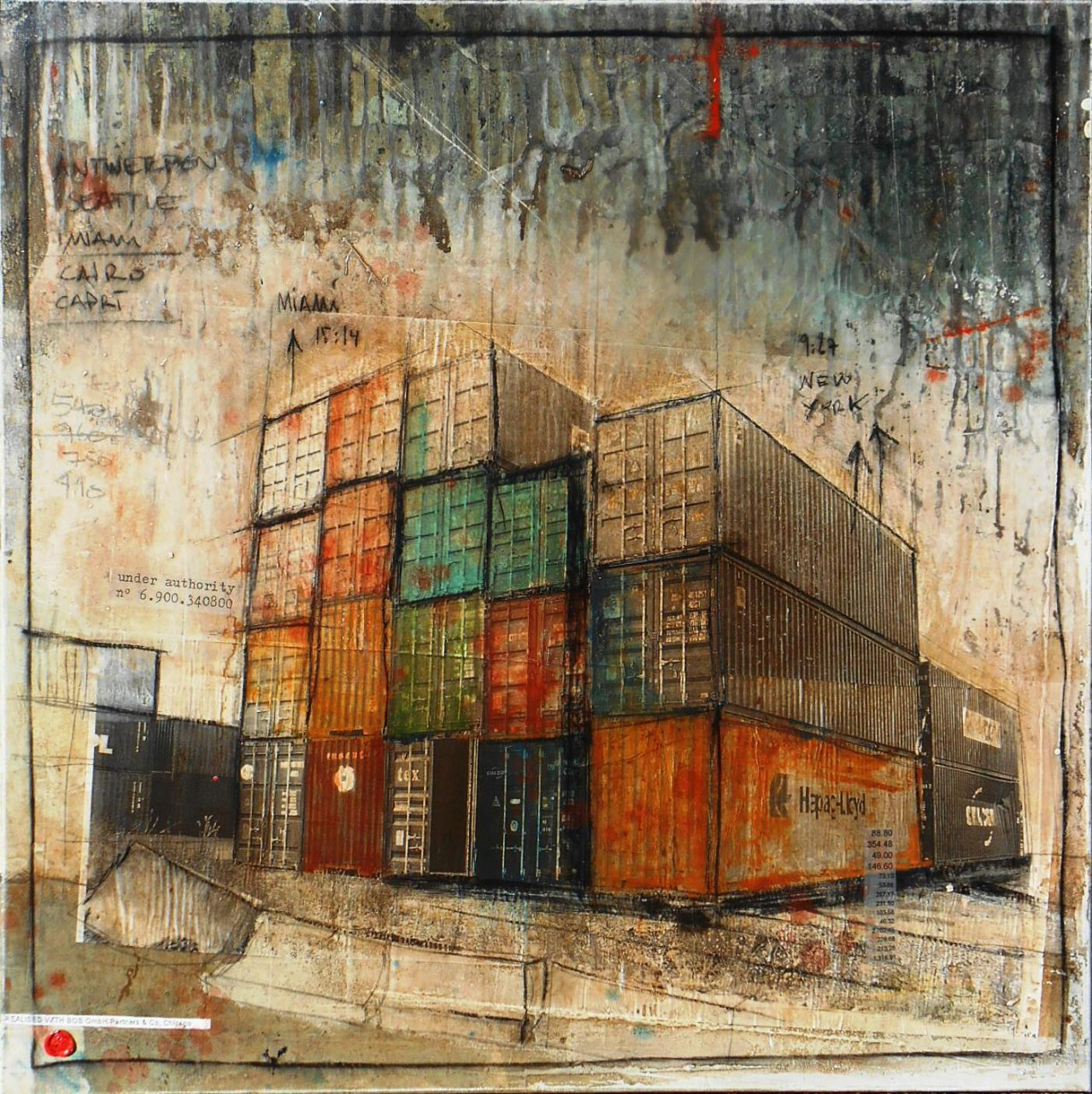 Made in China - collage photo, huile, acrylique sur toile 90 x 90 cm - 2014
