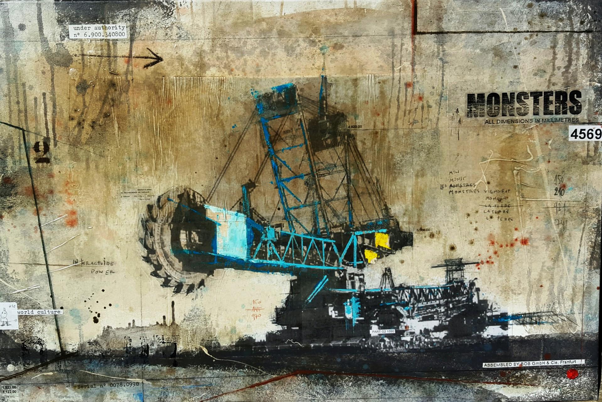 Monsters - collage photo, huile, acrylique sur toile - 80 x 120 cm - 2015