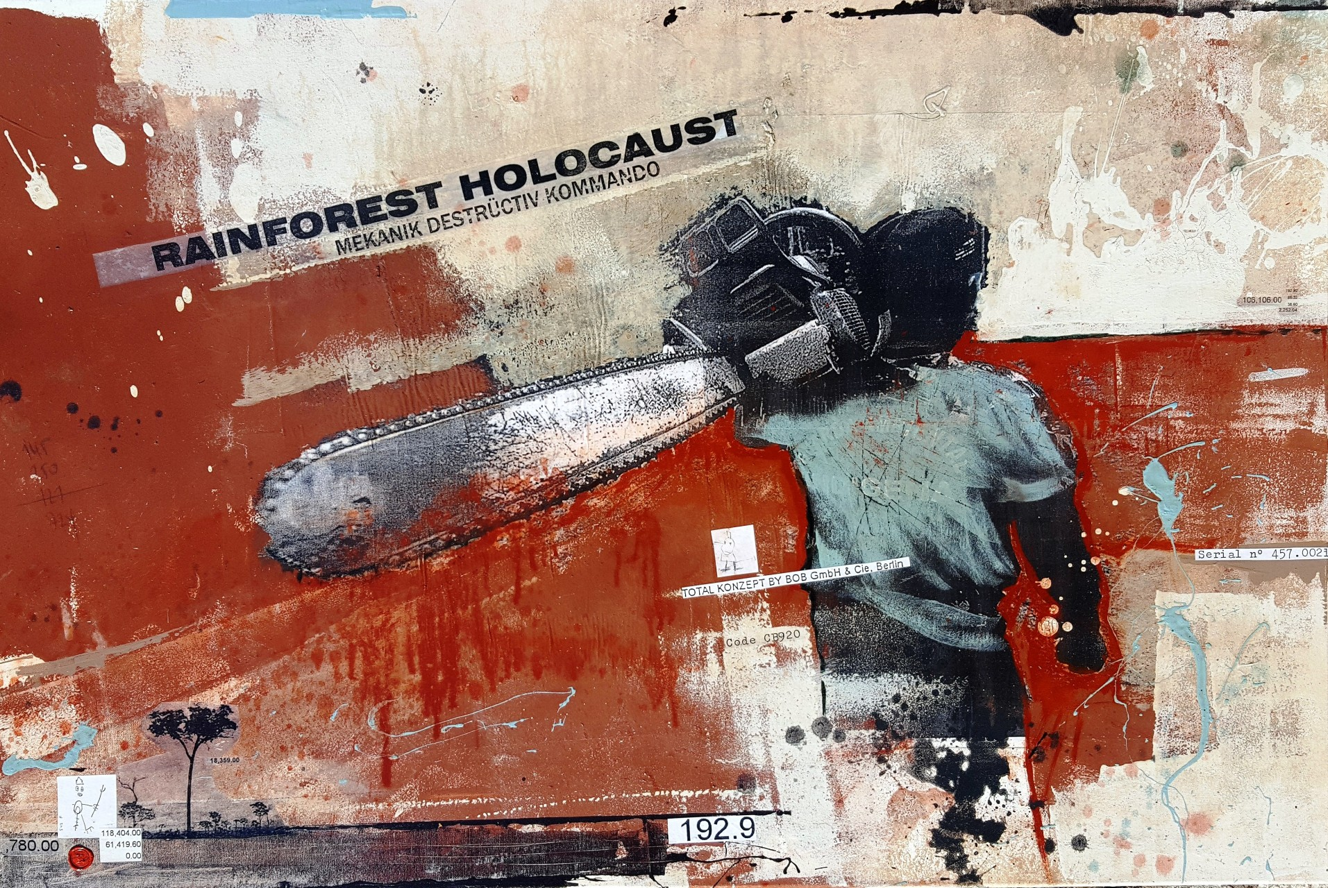 Rainforest Holocaust - collage photo, huile, acrylique sur toile 80 x 120 cm - 2016