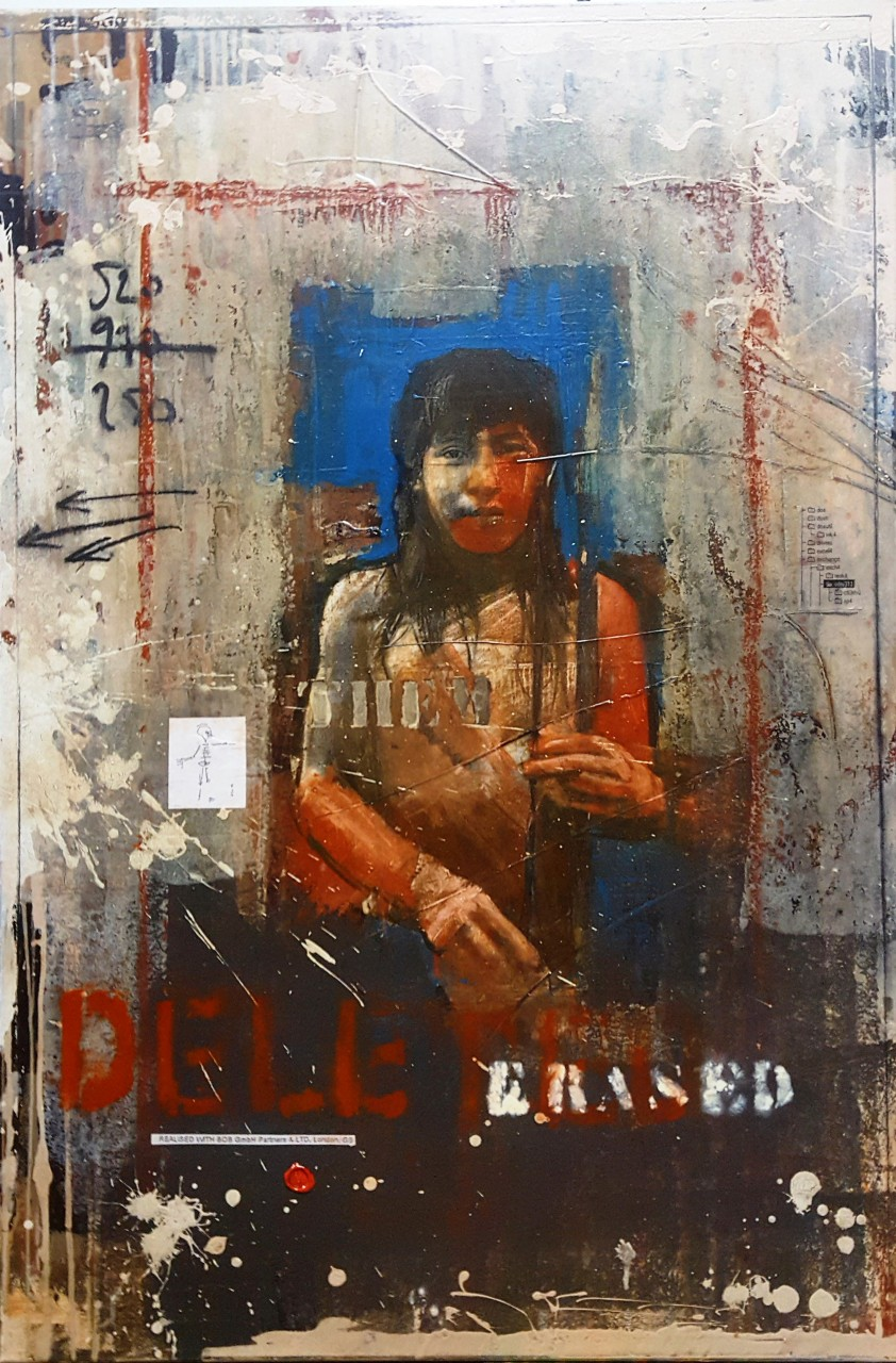 Erased Deleted - collage photo, huile, acrylique sur toile 120 x 80 cm - 2016